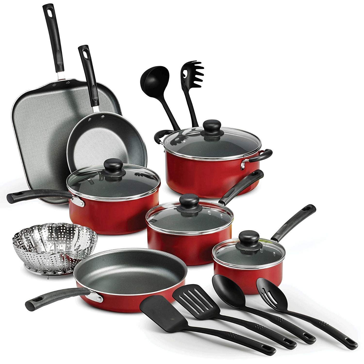 Double Nonstick Coating Kitchen Pots and Pan Set 13-Piece with Red Handle  Professional for Home Restaurant Finnhomy Super Value Hard-Anodized  Aluminum Cookware Set Home & Kitchen Kitchen & Dining